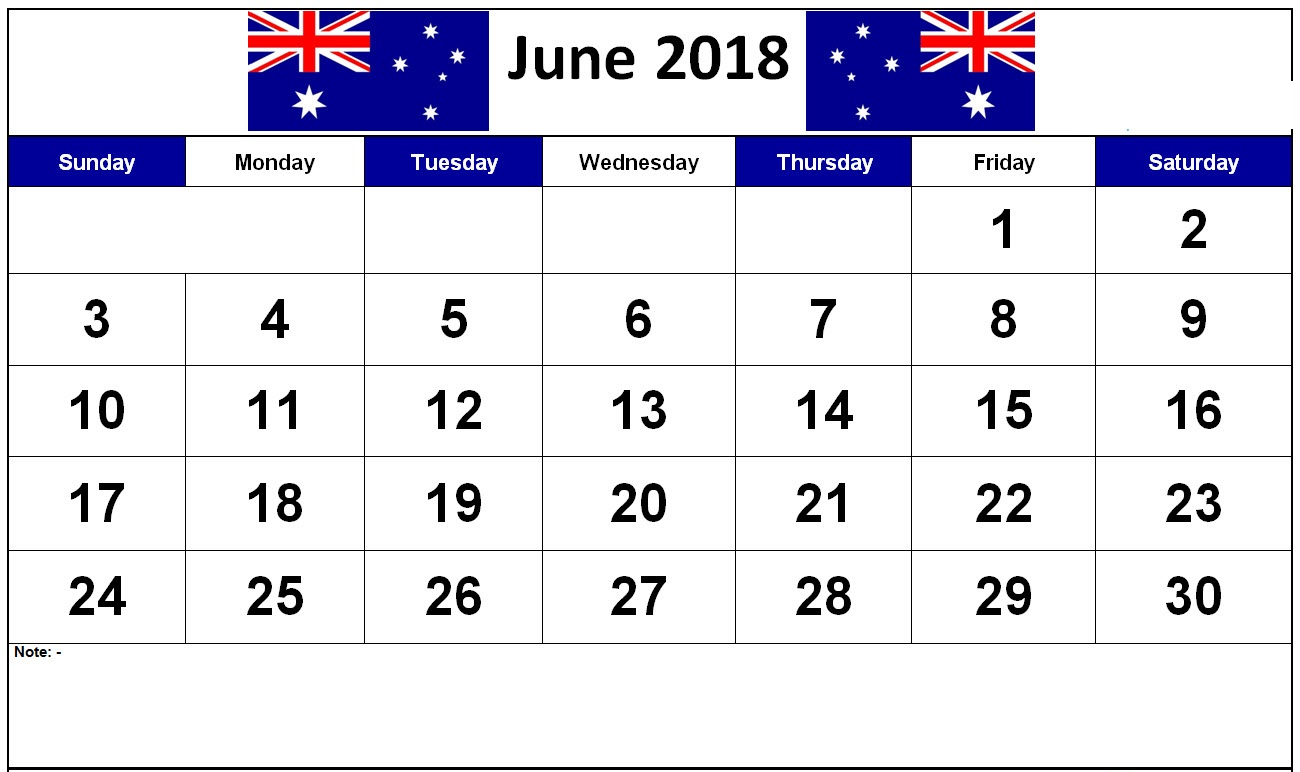 Word Desk June 2018 Calendar Australia