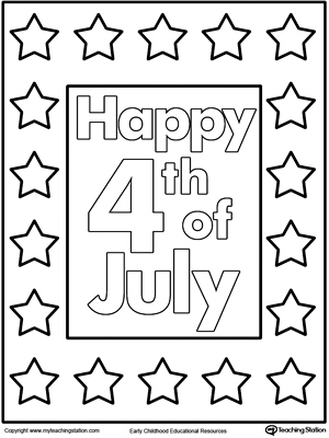 4th of July Poster Coloring Pages