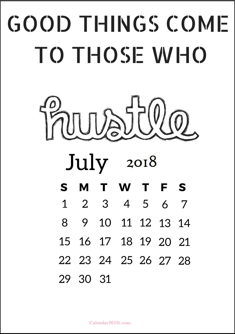 Amazing July 2018 Motivational Calendar