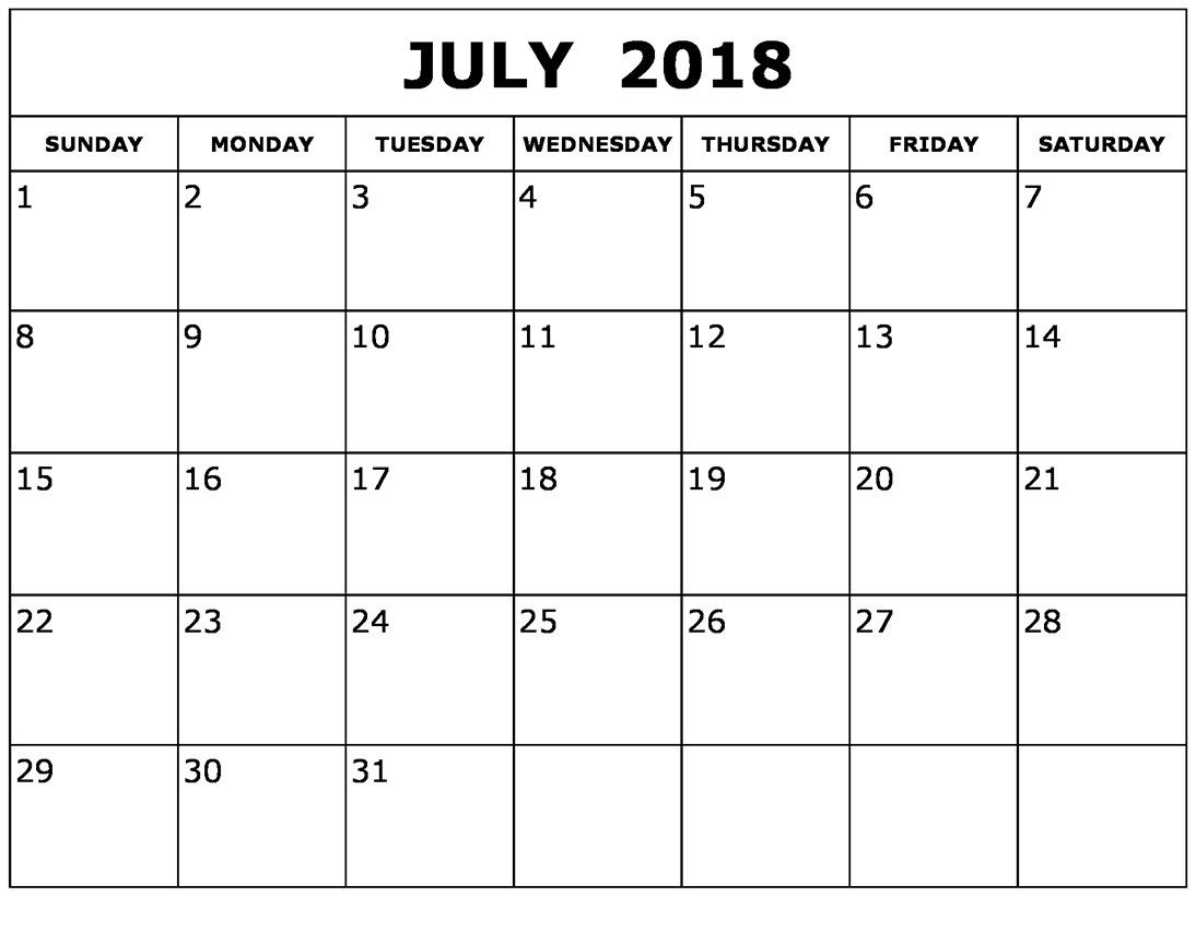 Blank Calendar July 2018 Desk Word