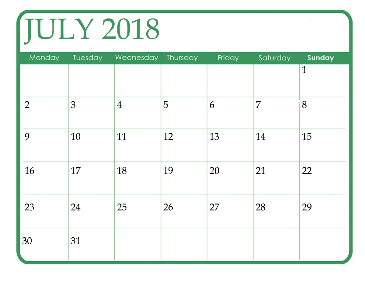 Blank Calendar July 2018 Green Title
