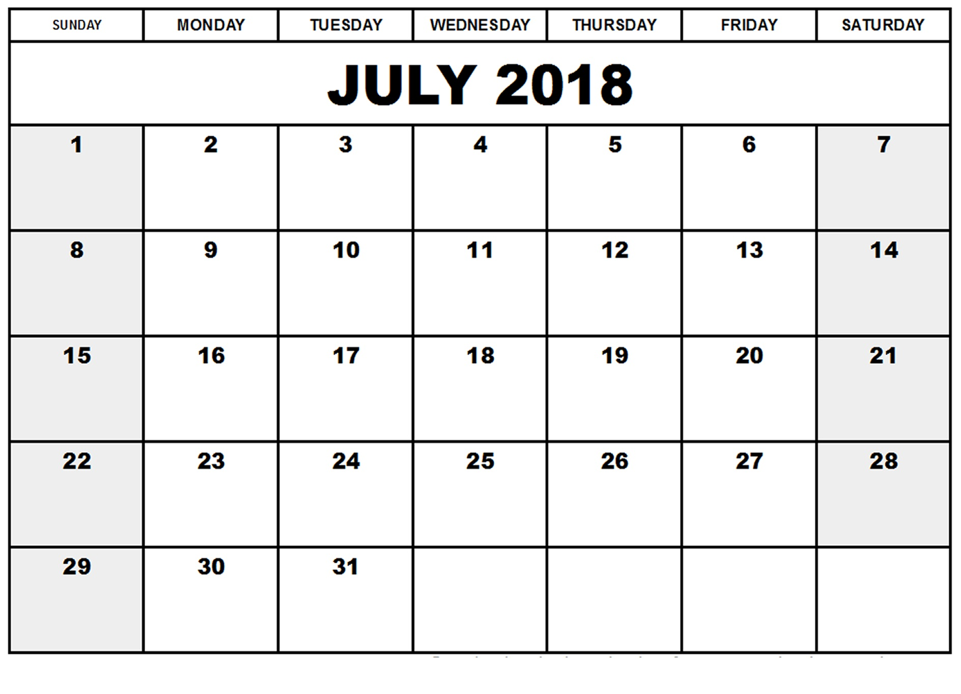 Blank Calendar July 2018 Printable Design