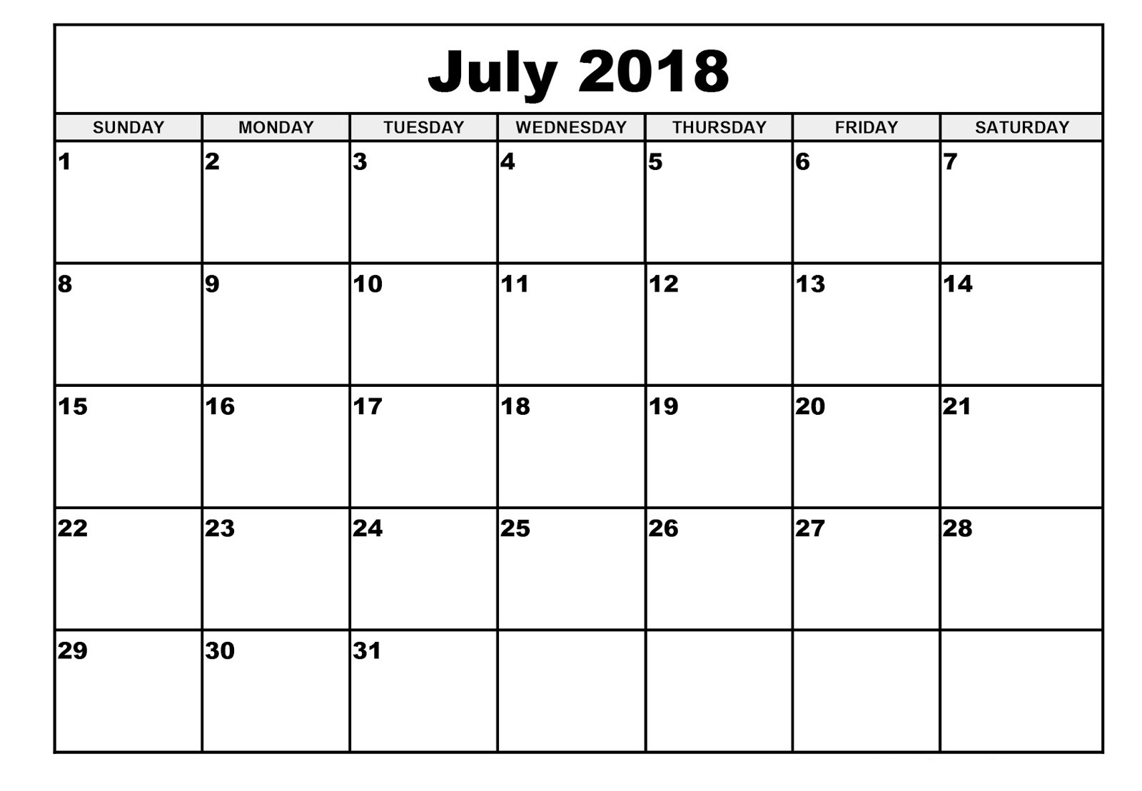 Blank Calendar July 2018 Printable Word