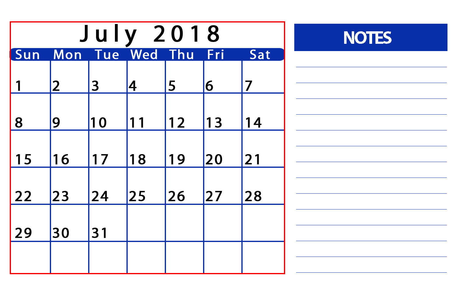Blank Calendar July 2018 With Notes