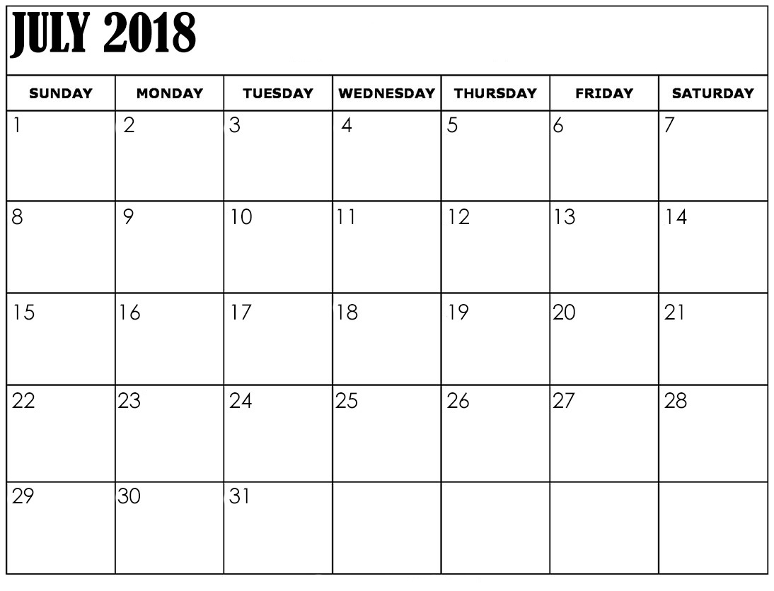 Blank July 2018 Calendar To Do List