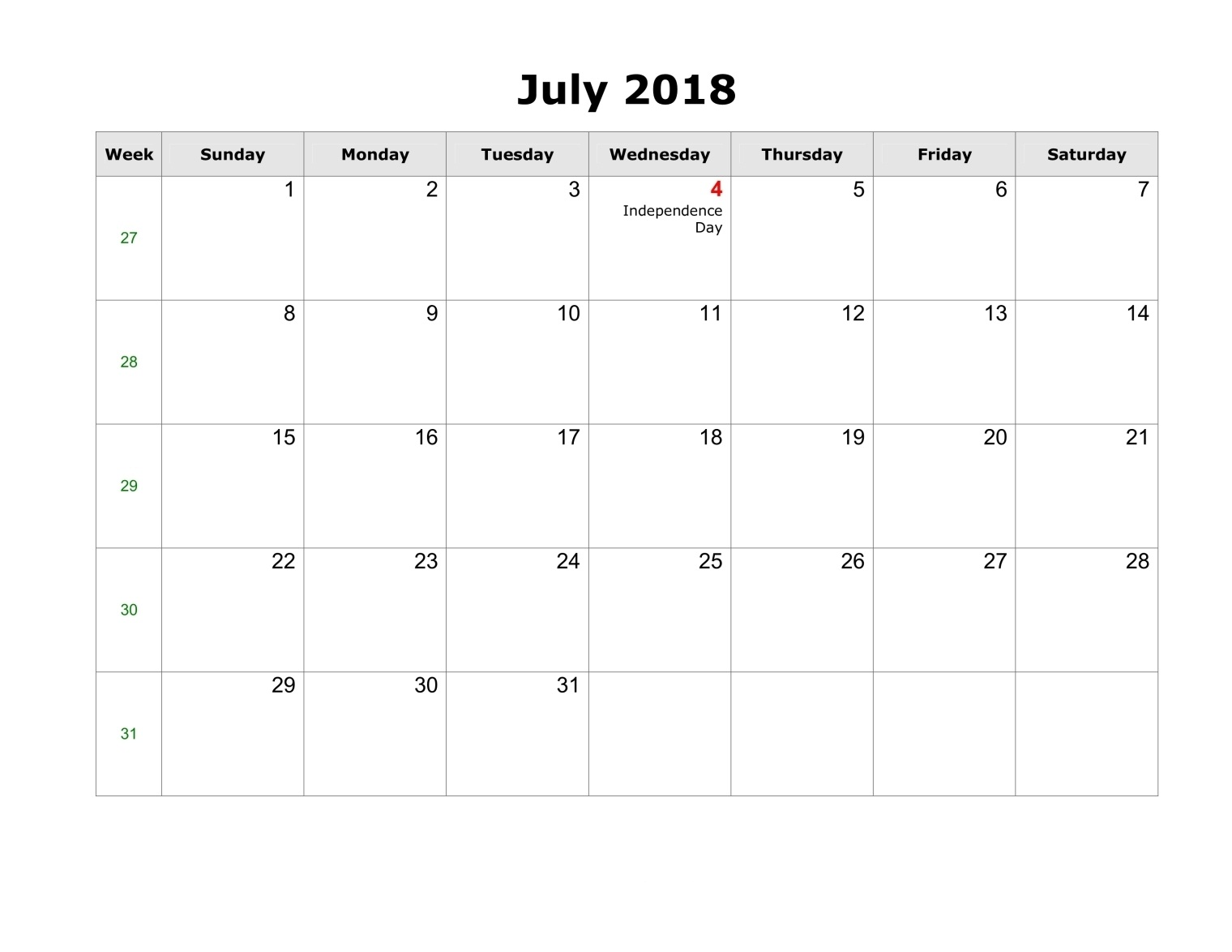 Blank Template Calendar July 2018 Free Download