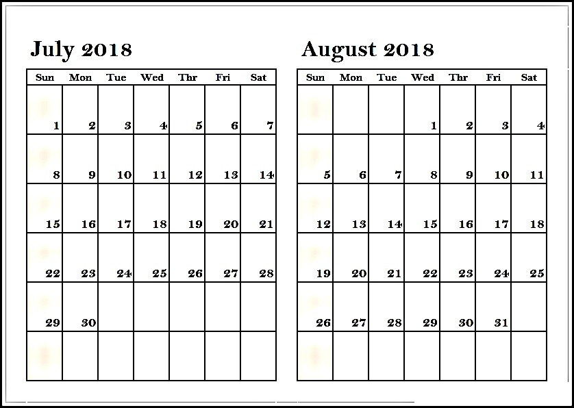 July August 2018 Calendar Two Month Printable Calendar