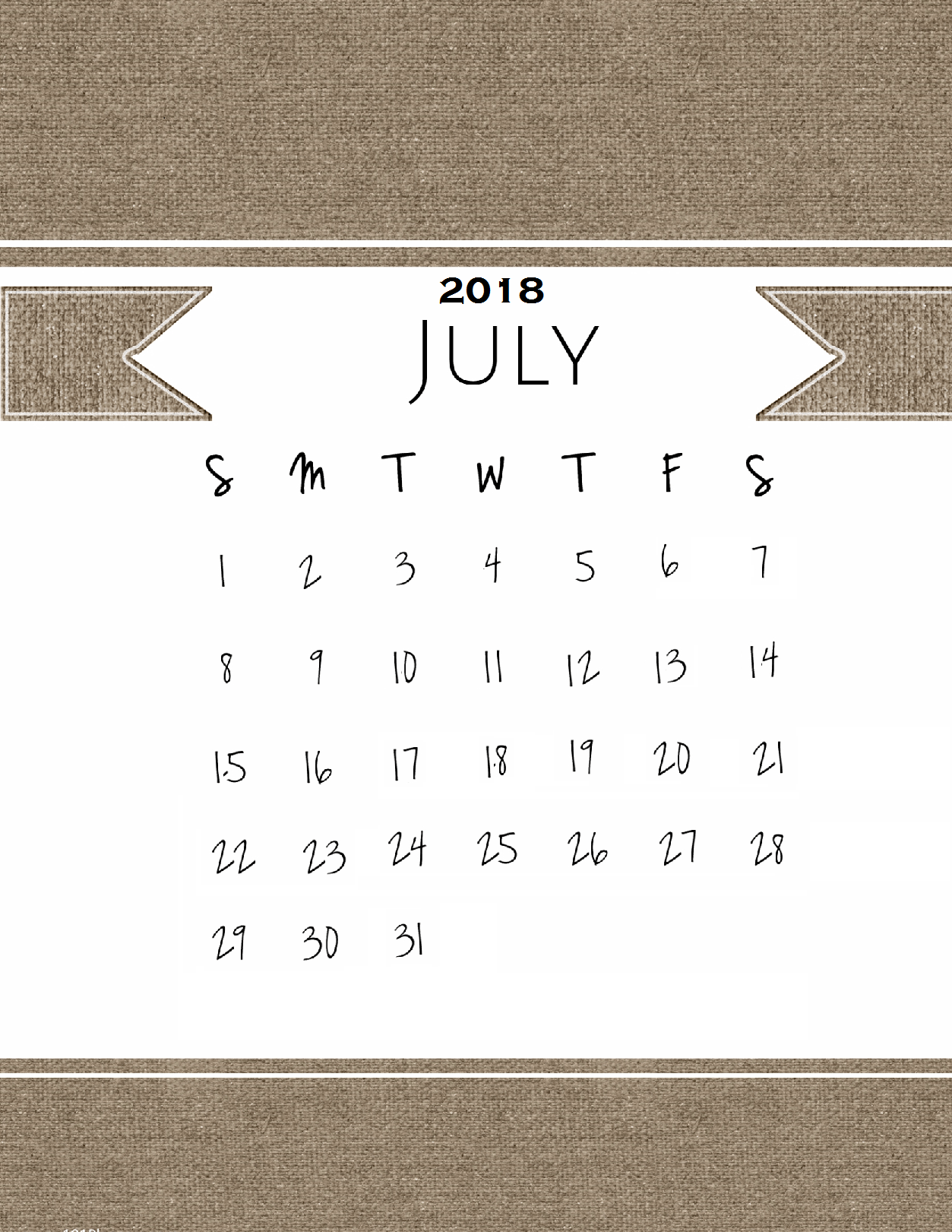 Customize July 2018 Calendar