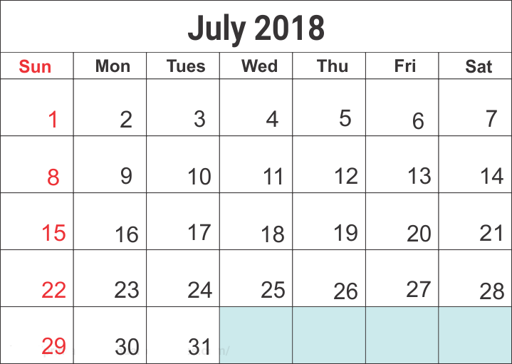 Cute July 2018 Printable Calendar