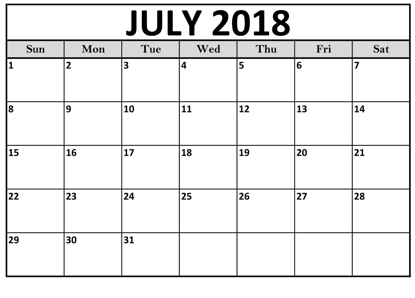 Free Printable July 2018 Calendar Excel Template
