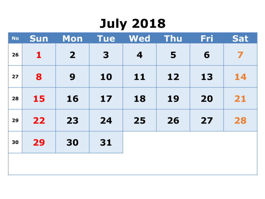 Full Table Calendar For July 2018