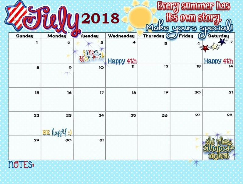 Inspiring July 2018 Calendar For Desk