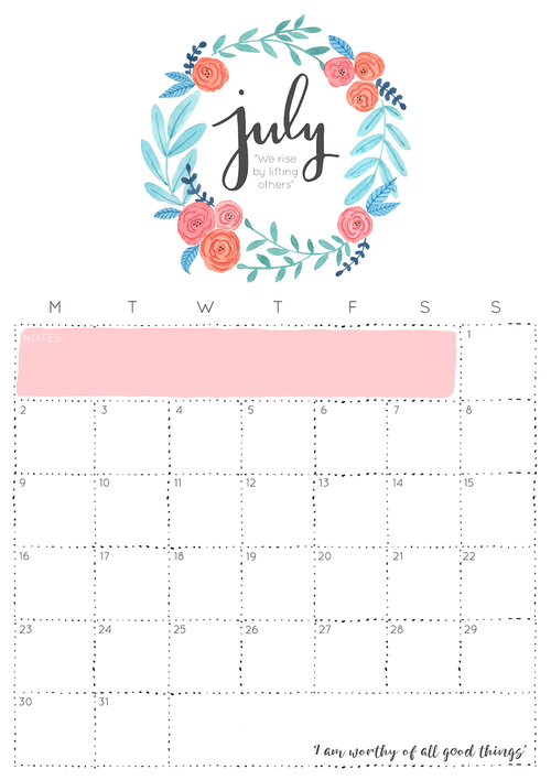 Inspiring July 2018 Calendar For Wall