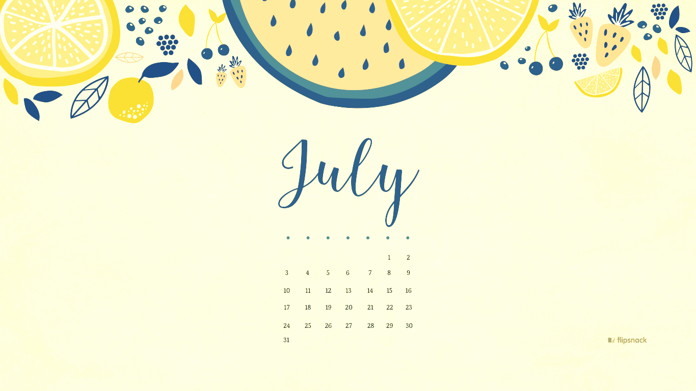 July 2018 Calendar Desktop Wallpaper