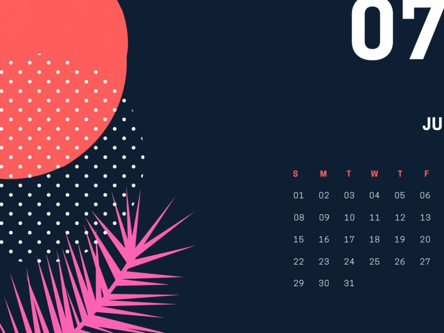 July 2018 Desktop Calendar