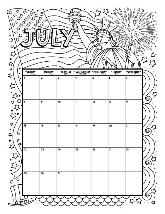 July 2018 Printable Calendar Coloring Page Template