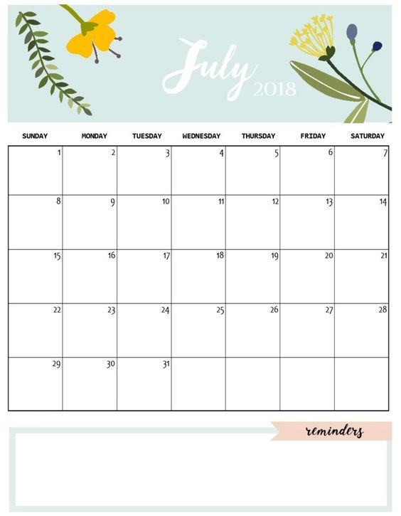 July 2018 Printable Calendar Design With Reminders