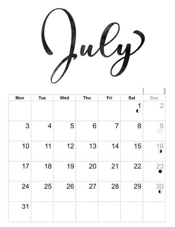 July 2018 Printable Calendar Italic Decoration