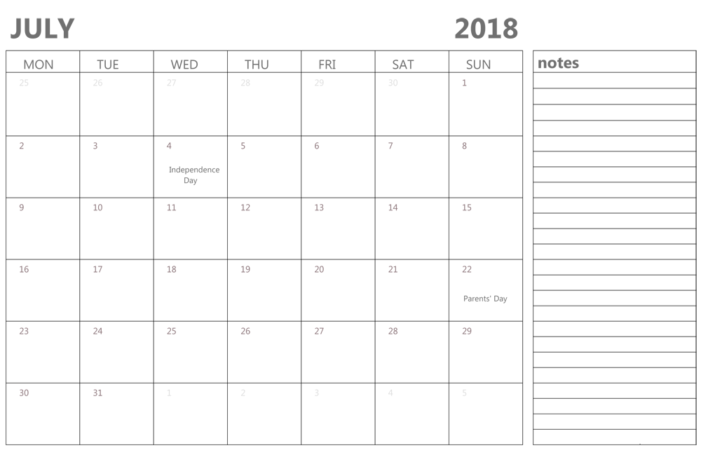 July 2018 Printable Calendar Template With Notes