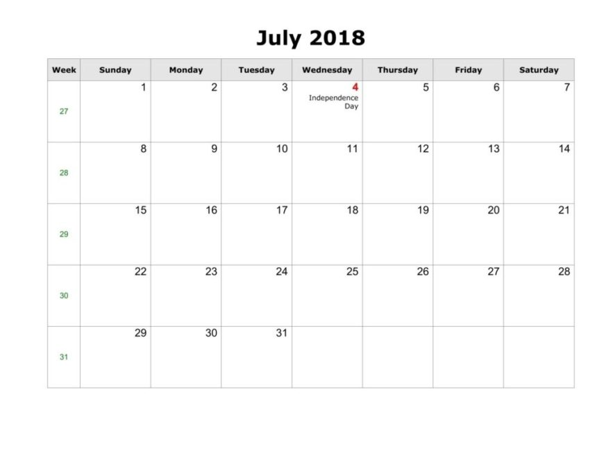 July 2018 Printable Monthly Cute Calendar