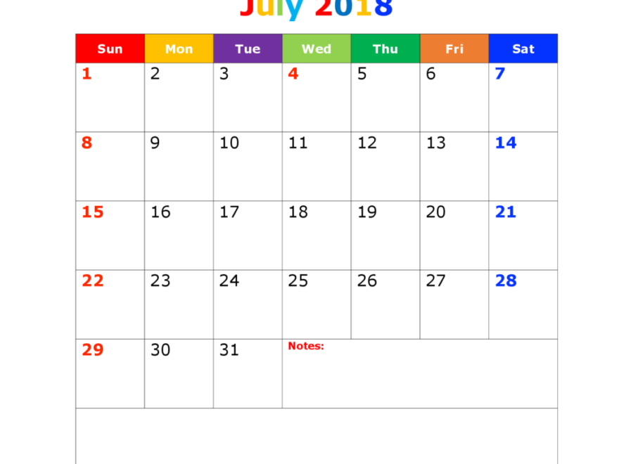 July Calendar Template Excel For 2018