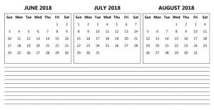 June July August 2018 Calendar Pdf With Notes