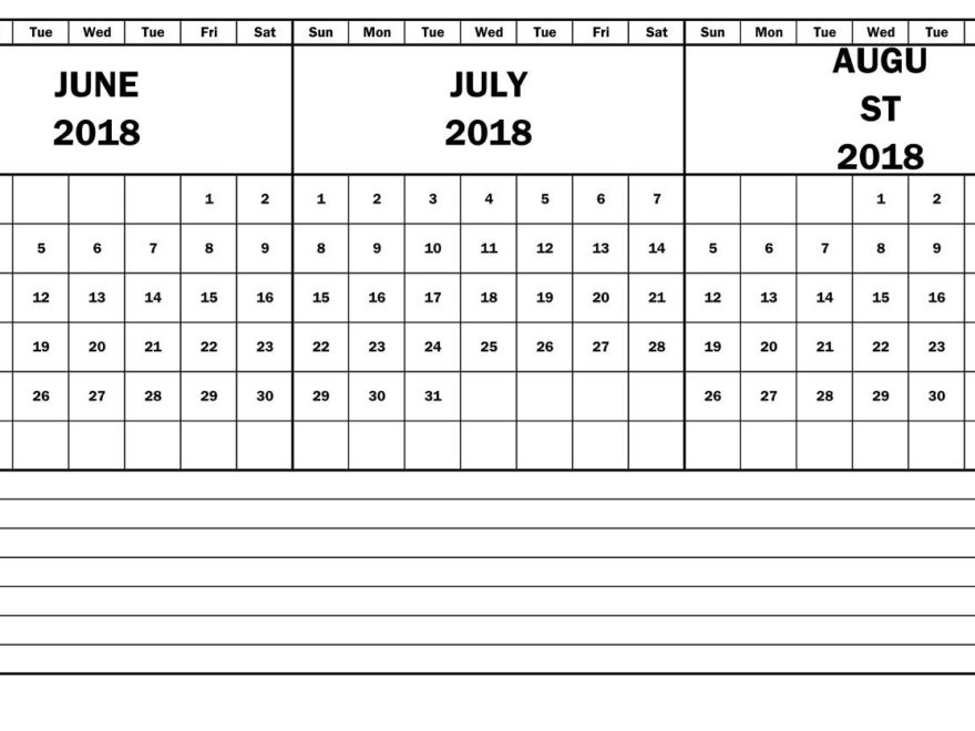 June July August Blank word 2018 Calendar