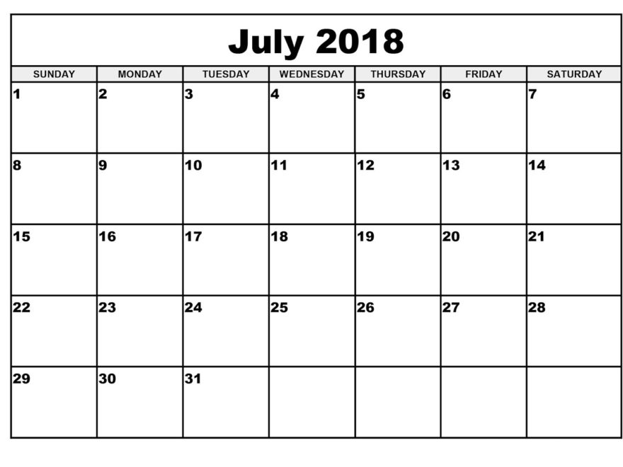 Monthly Calendar July 2018 Template