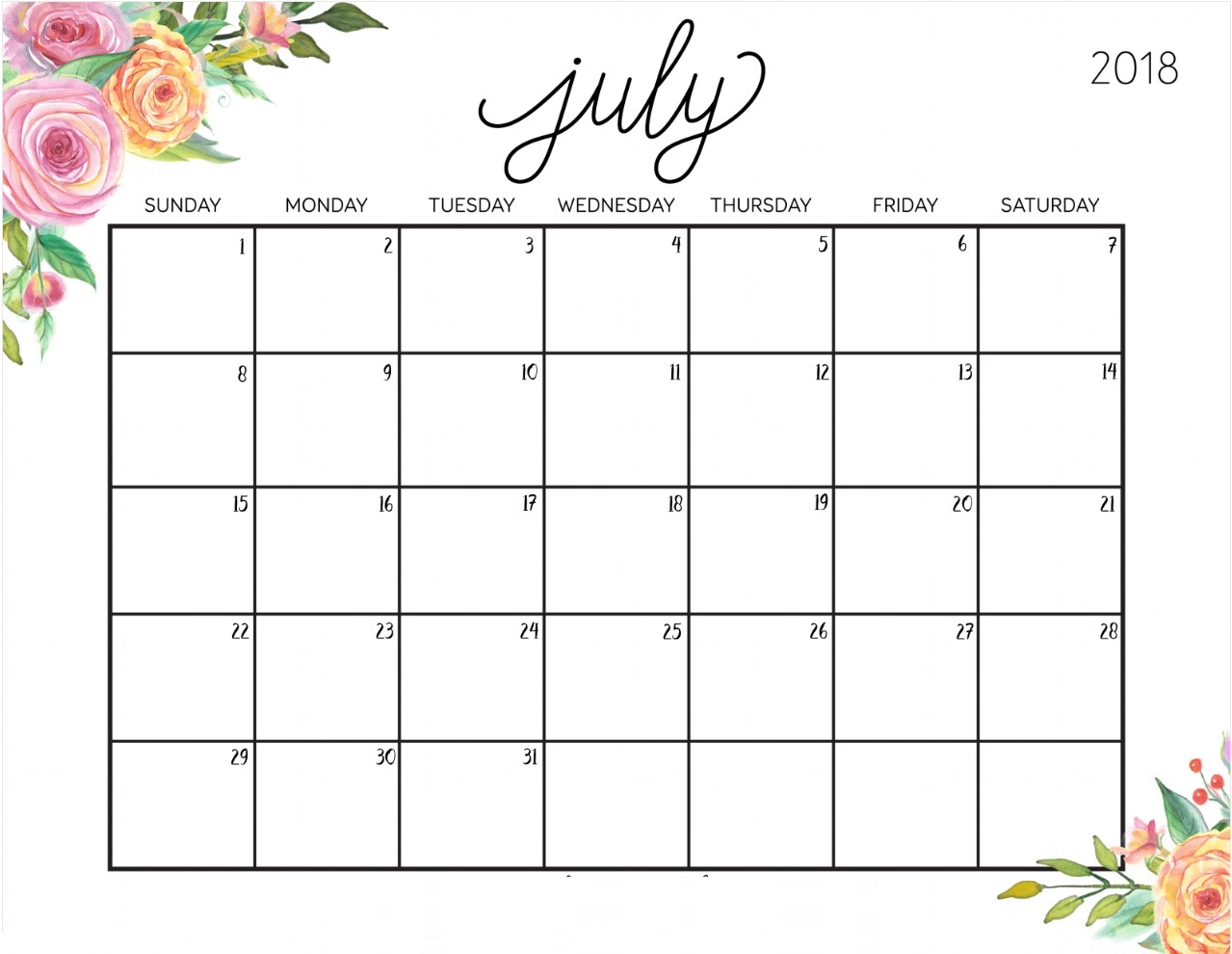 Monthly July 2018 Printable Calendar