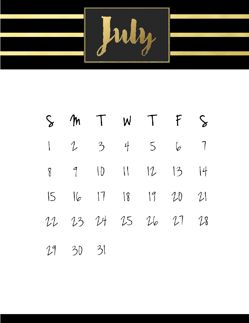 Personalized July 2018 Calendar Printable