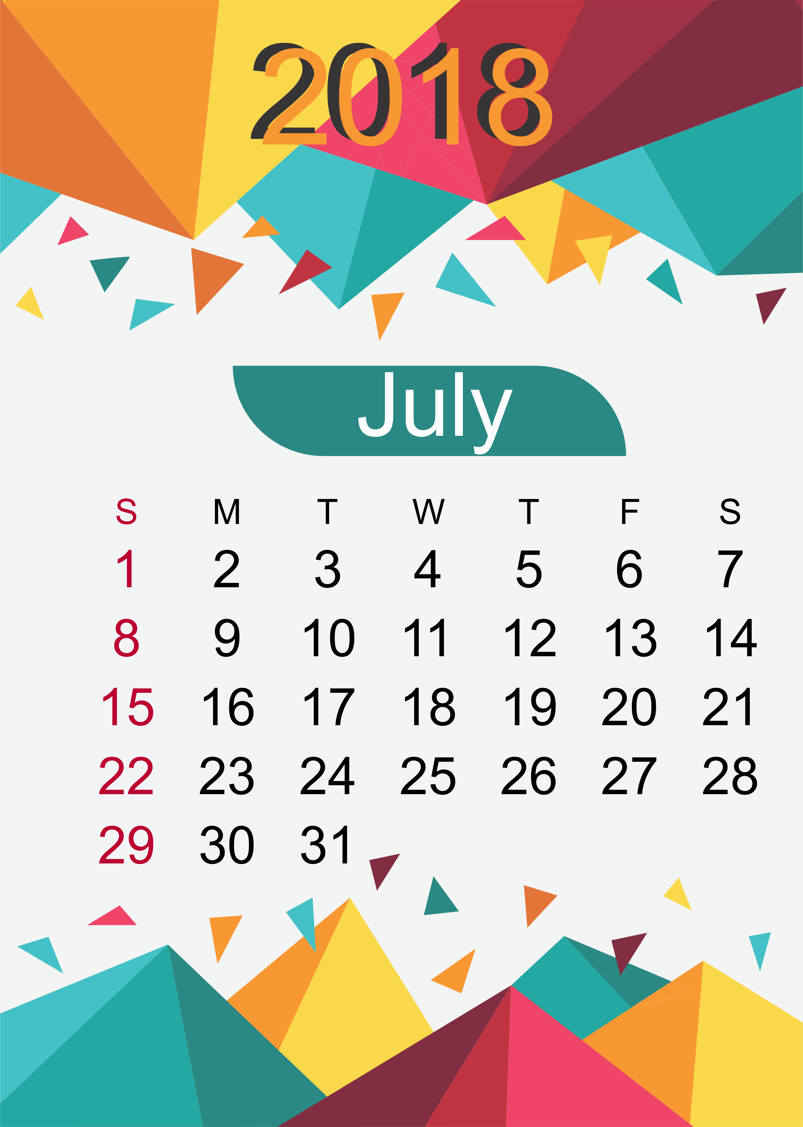 Personalized July 2018 Desk Calendar