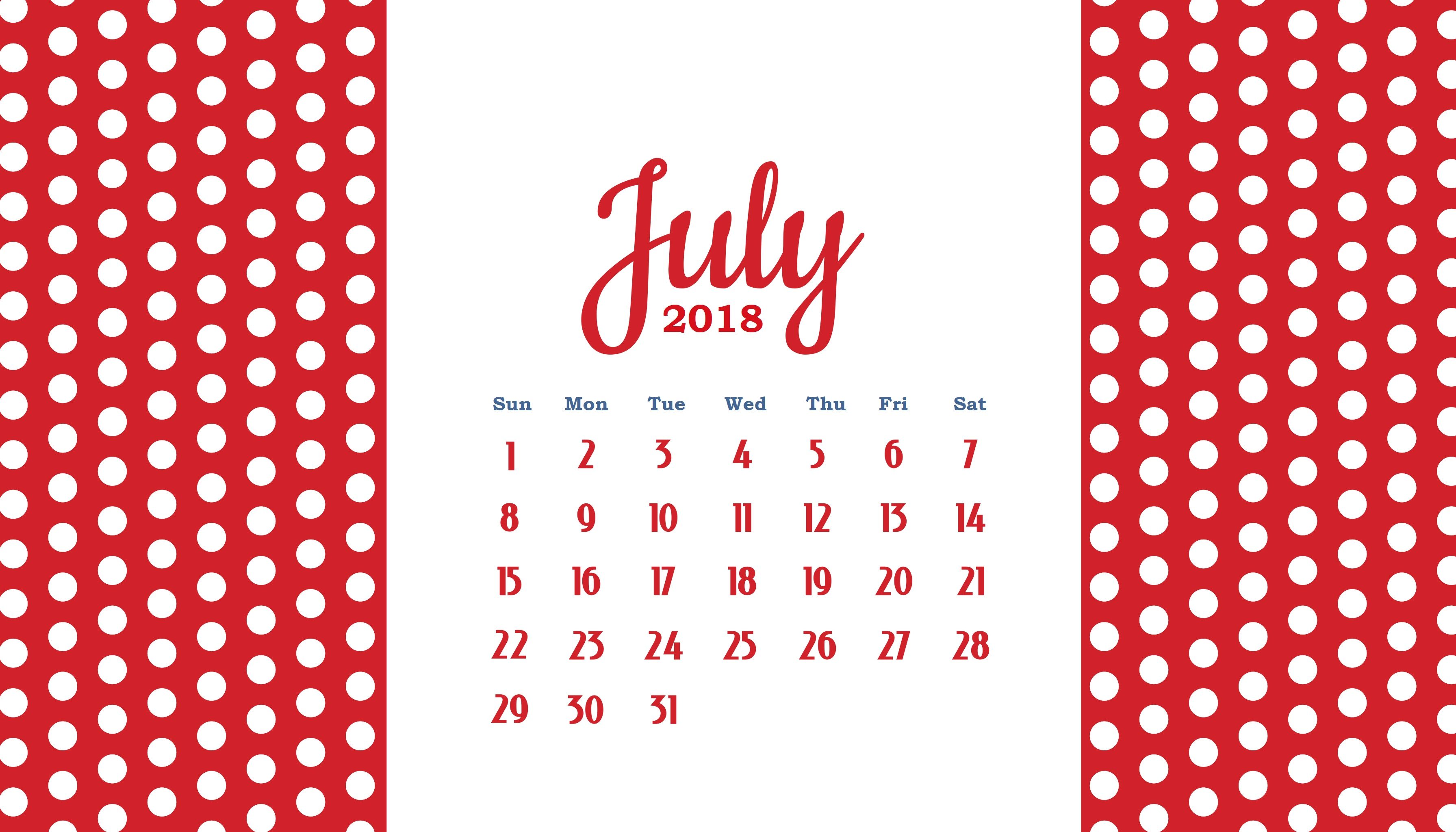 personalized july 2018 calendar printable template