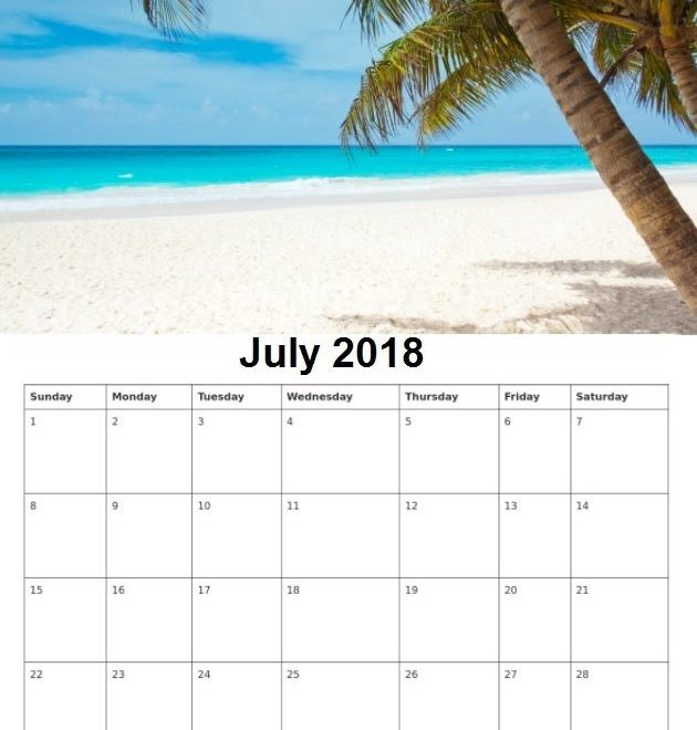 Personalized July 2018 Wall Calendar