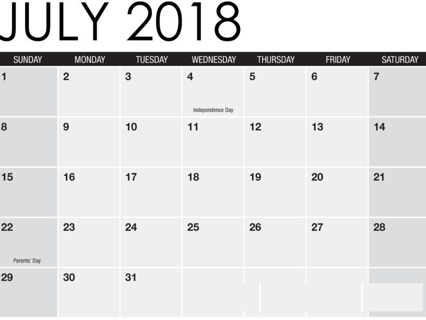 Printable Calendar July 2018 Word Excel
