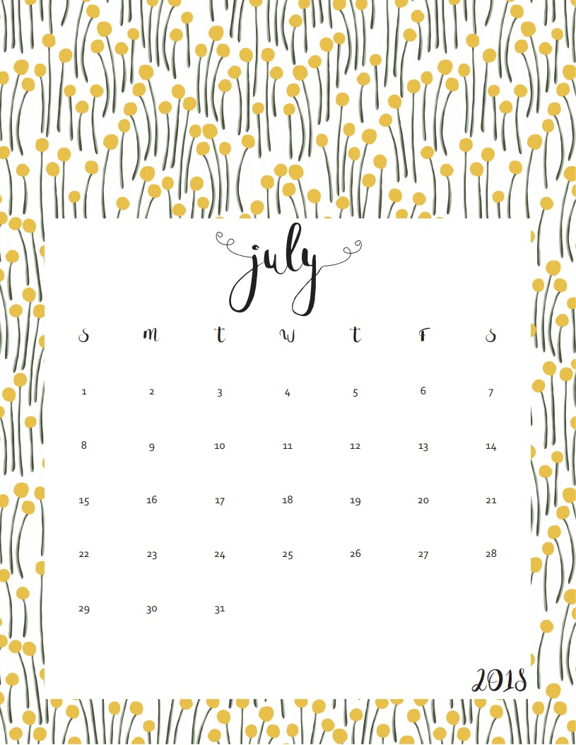 Printable July 2018 Personalized Calendar