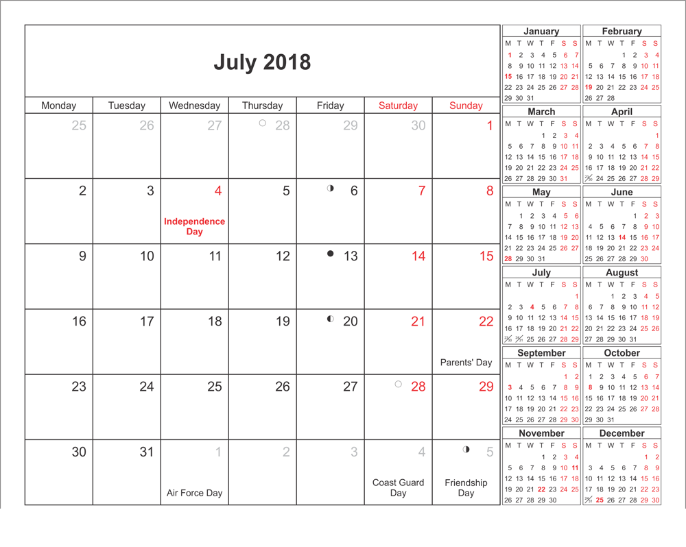Template July 2018 Printable Calendar With Other Month