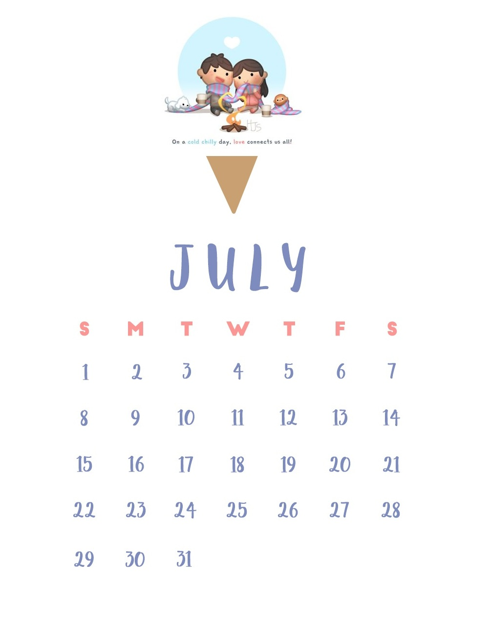 iPhone July 2018 Calendar Wallpaper