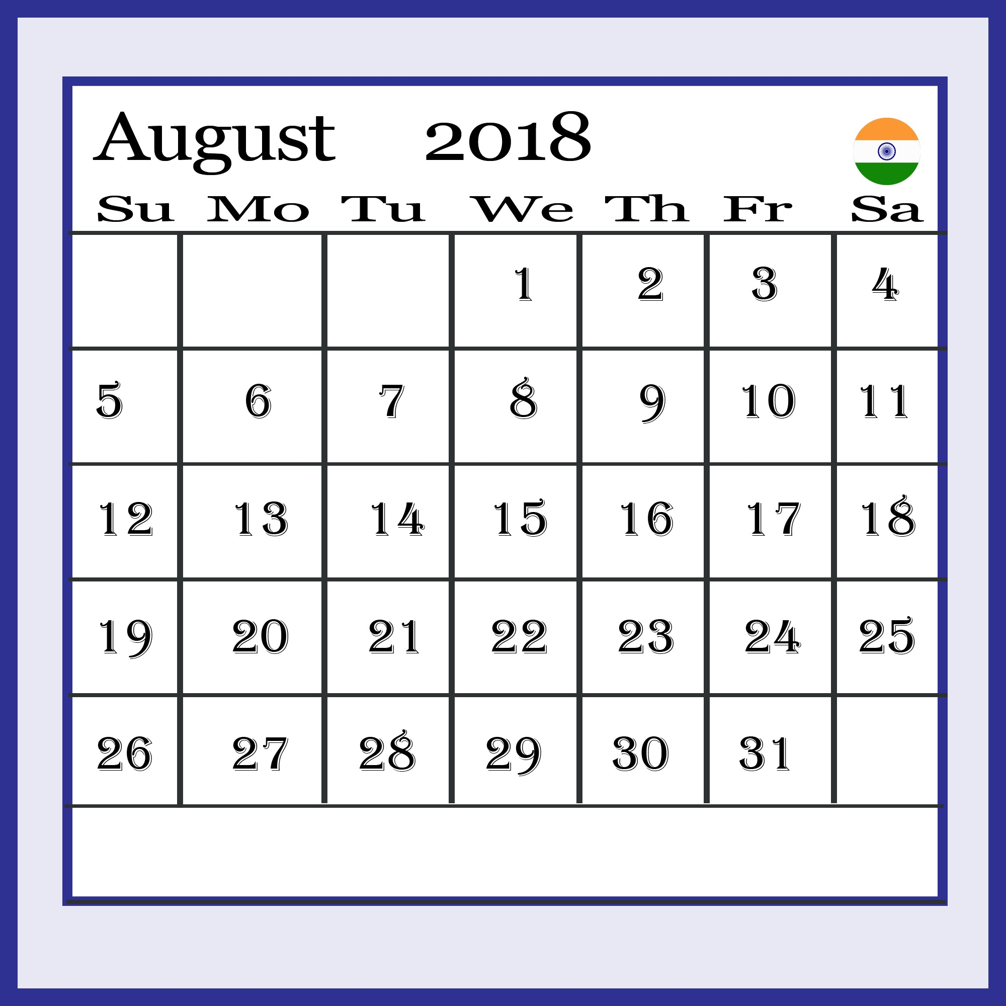 August 2018 Calendar India Holidays and Festivals