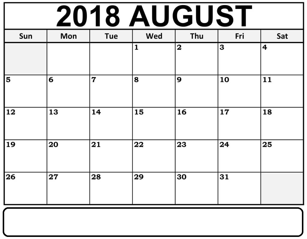 2018 August Calendar With Notes