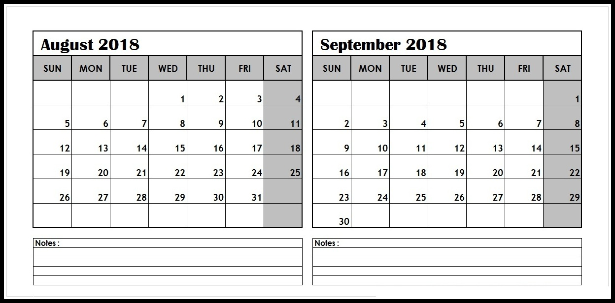 August September 2018 Calendar Two Month Calendar Template