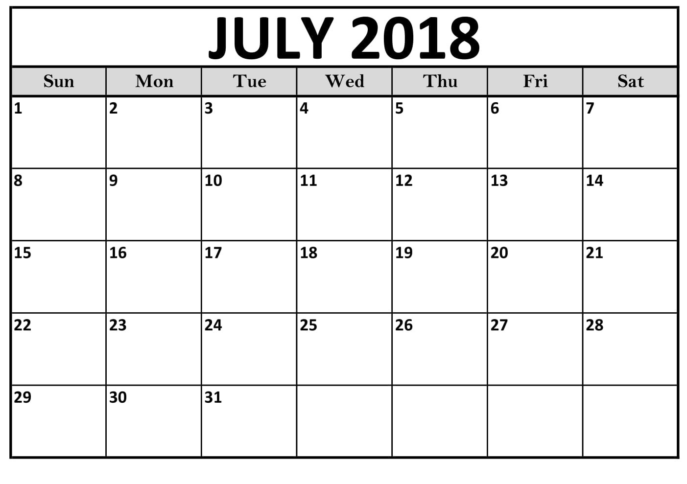 2018 July Calendar Printable Archives