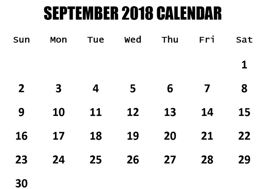 2018 September Calendar Fillable