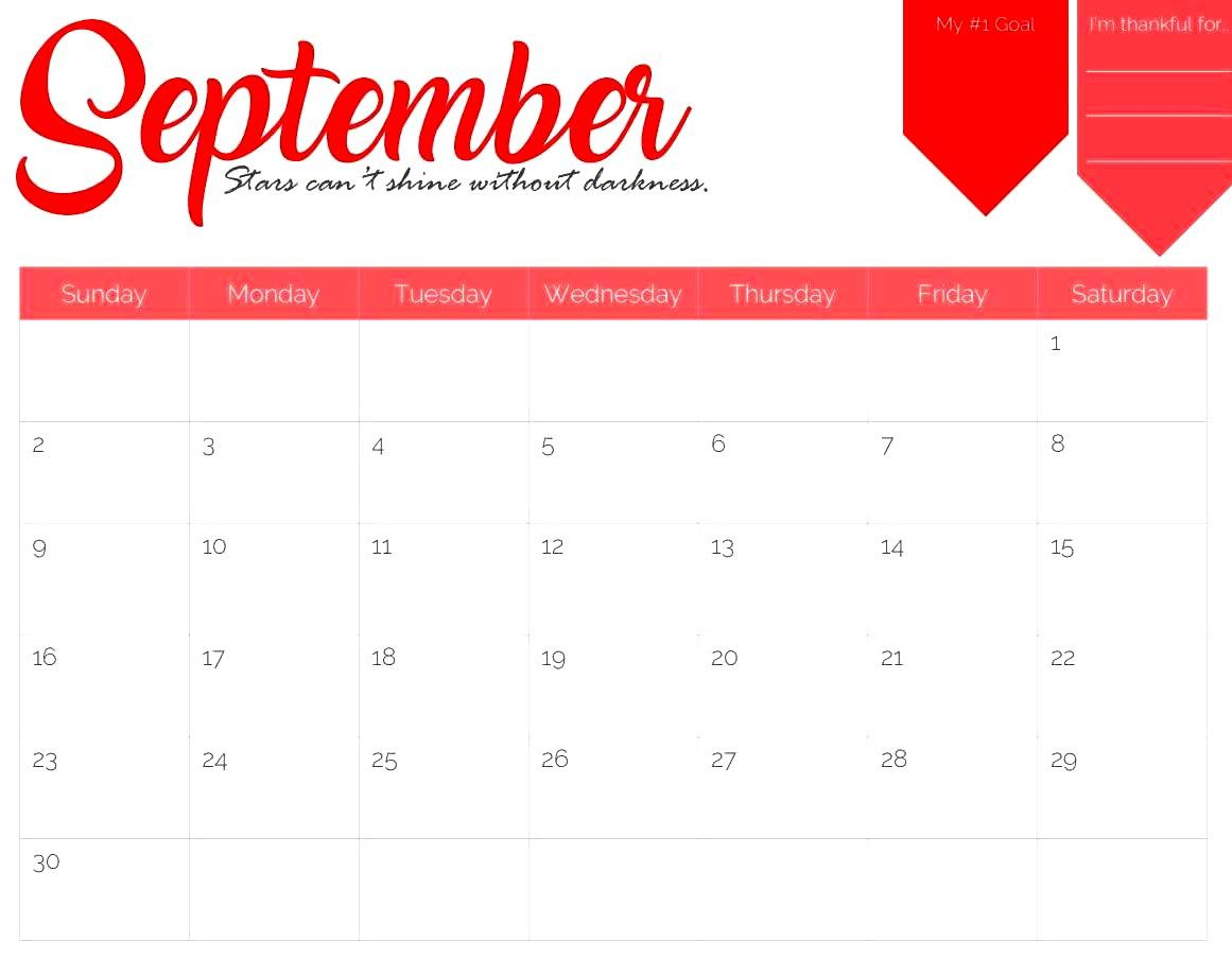 2018 September Calendar Wallpapers