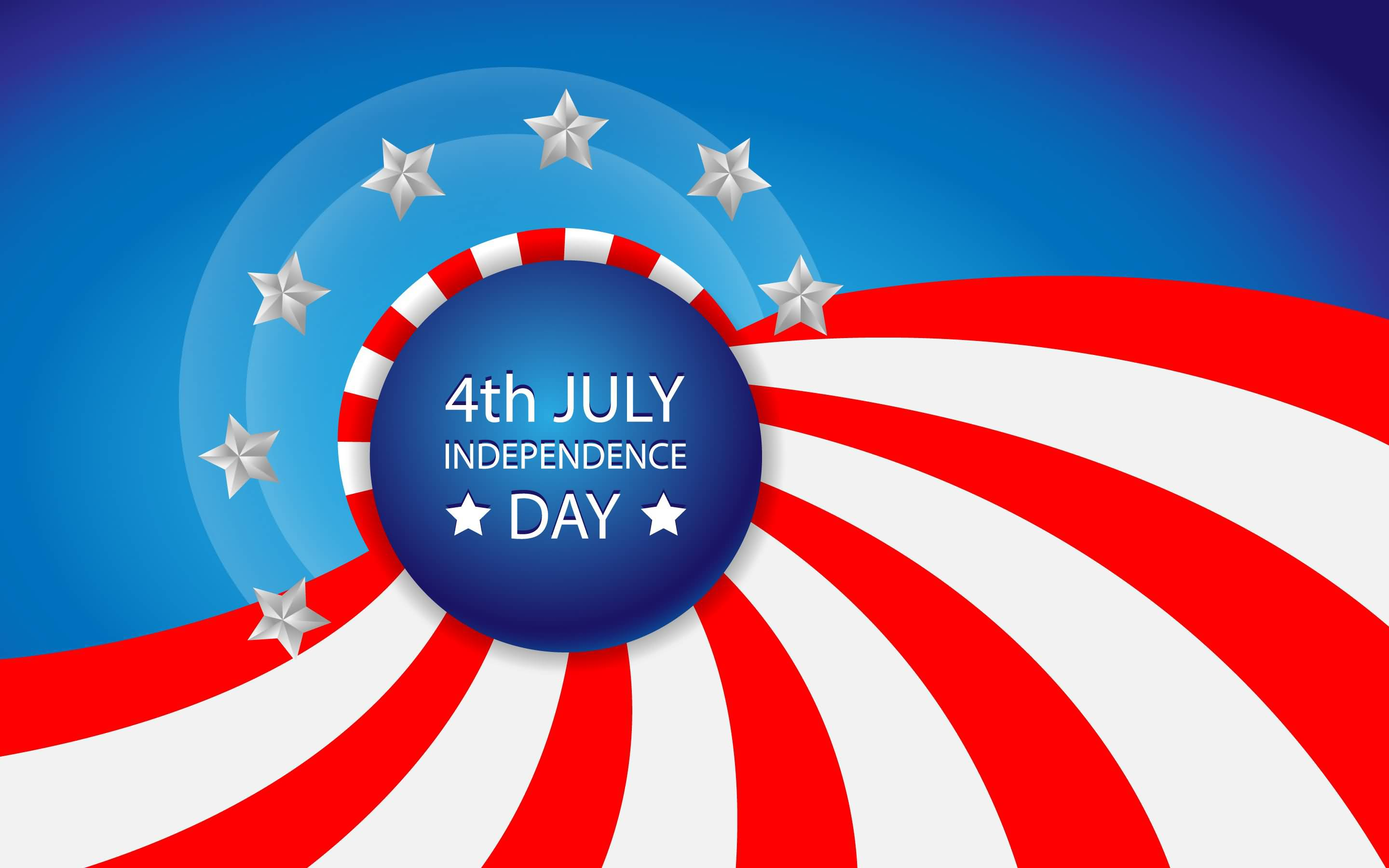 4th July Card Wishes With Clipart