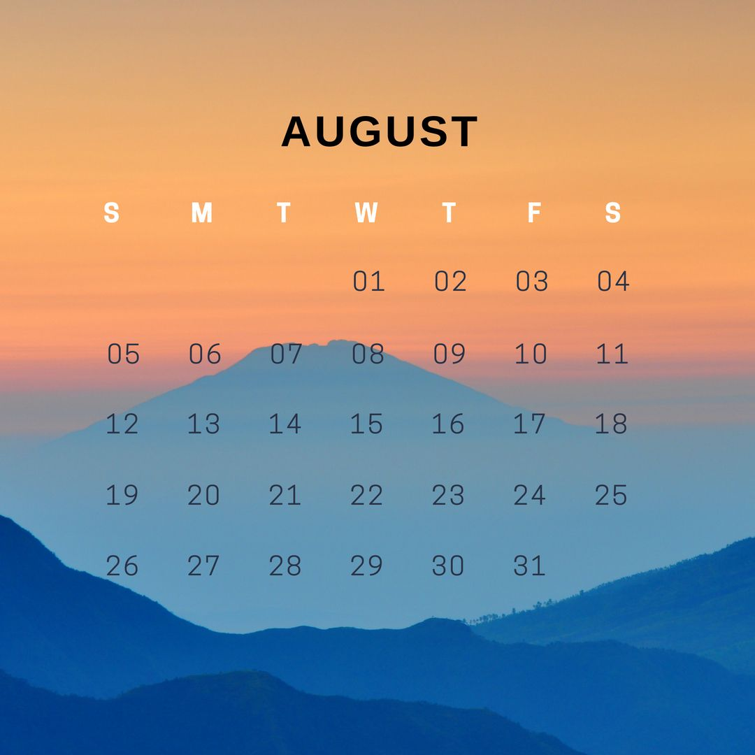 Amazing August 2018 iPhone Calendar