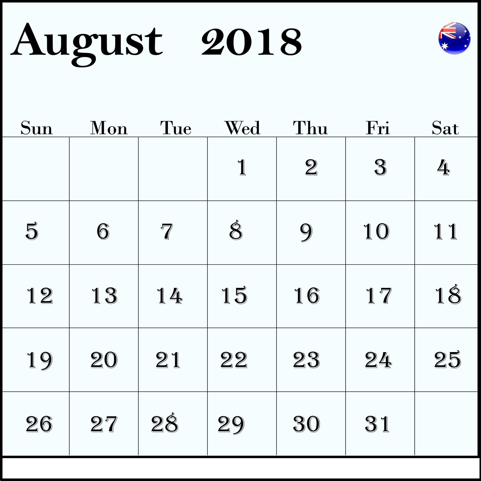 August 2018 Calendar Australia With Holidays Bank and Public