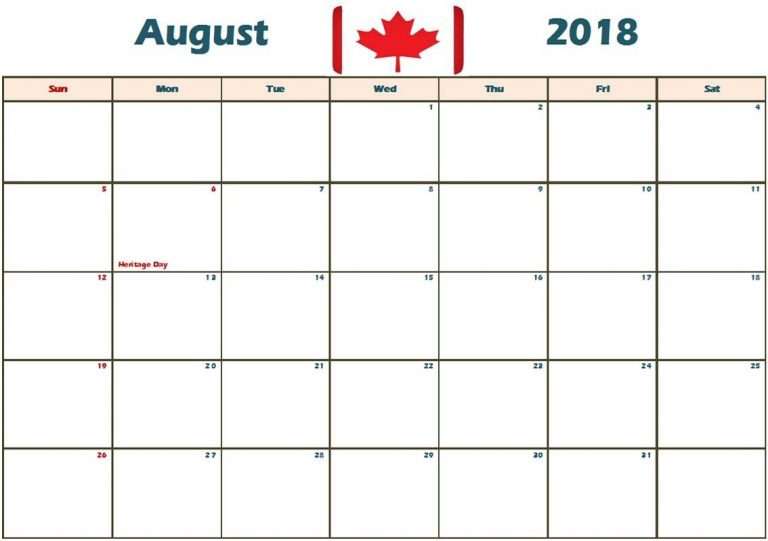 August 2018 Calendar Canada National Holidays