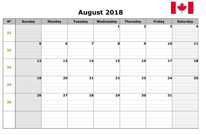 August 2018 Calendar Canada School Holidays