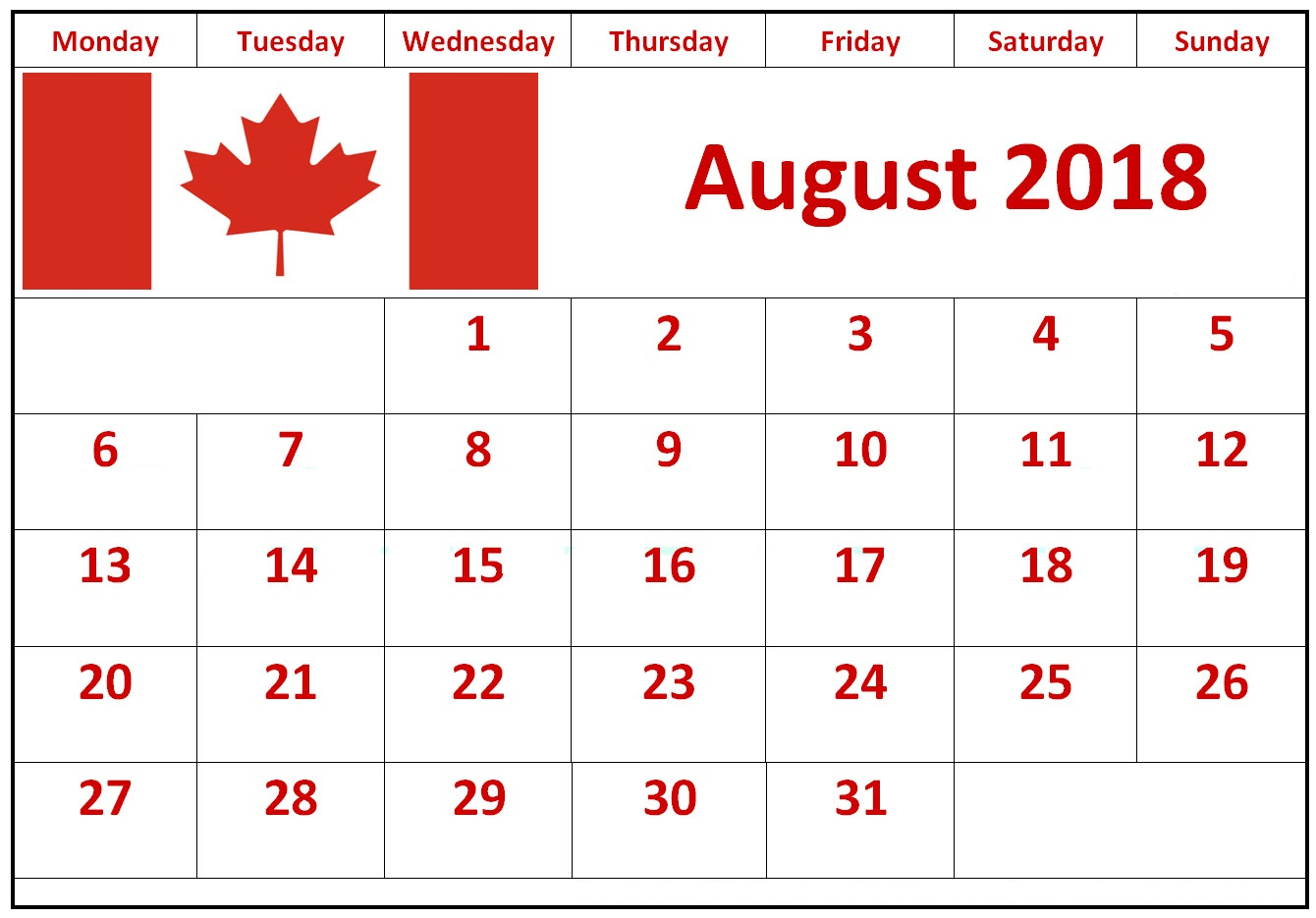 August 2018 Calendar Canada With Holidays