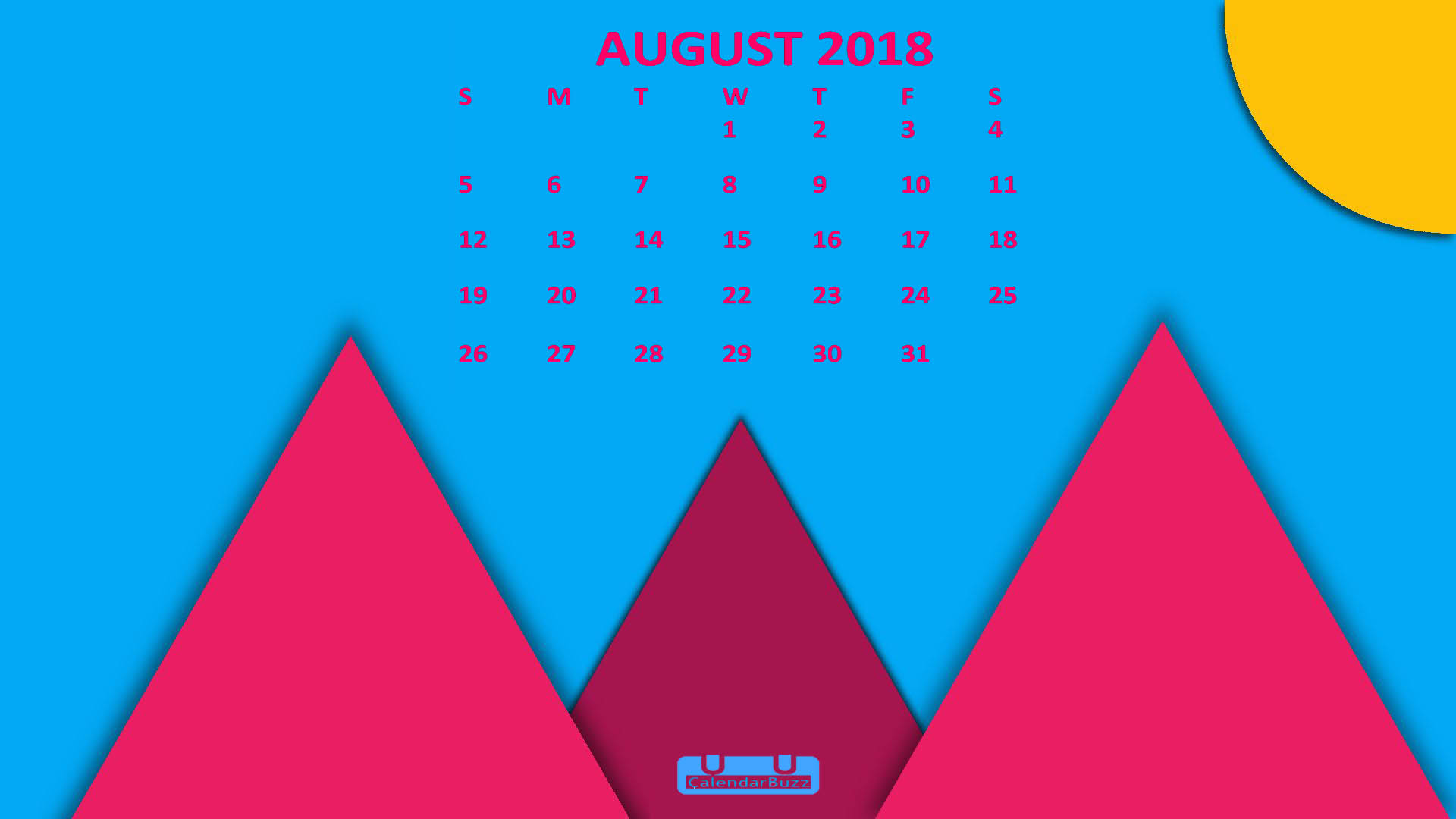 August 2018 Calendar HD Wallpaper
